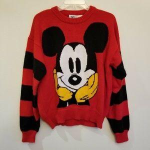 Vtg Walt Disney Mickey Mouse Knit Sweater sz L
